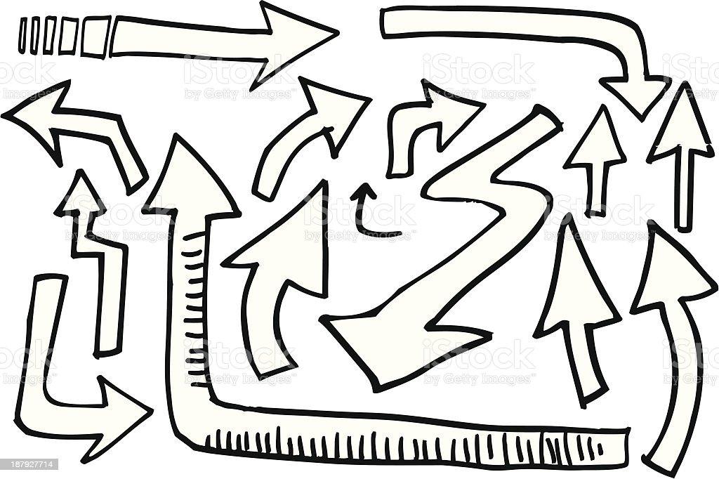 Doodle Arrow Set royalty-free stock vector art
