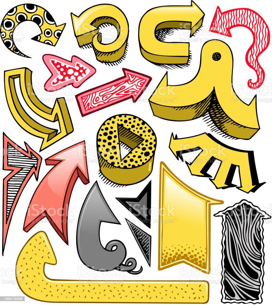 doodle arrow sign set royalty-free stock vector art