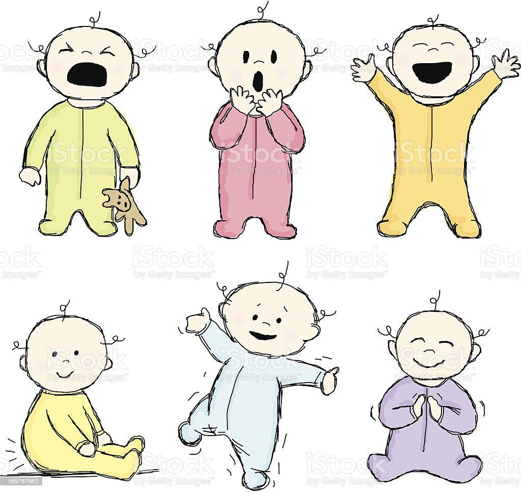 Doodle Babies vector art illustration