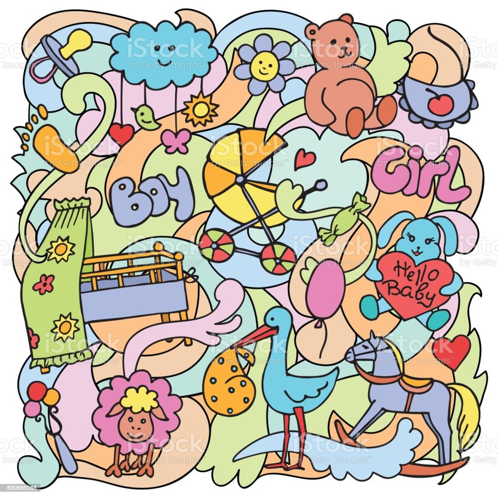 Doodle Baby Colorful Objects vector art illustration