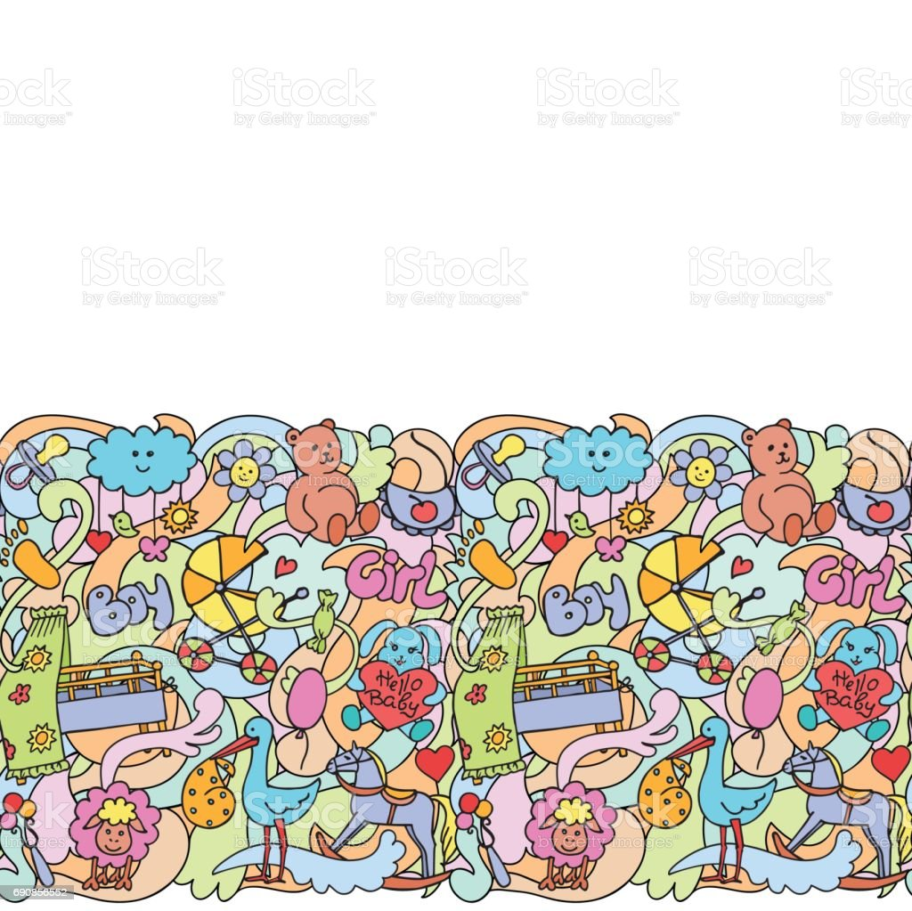 Doodle Baby Colorful Seamless Border vector art illustration