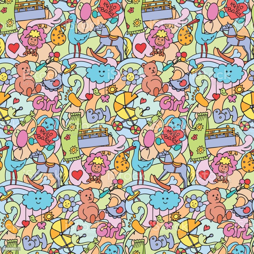 Doodle Baby Colorful Seamless Pattern vector art illustration