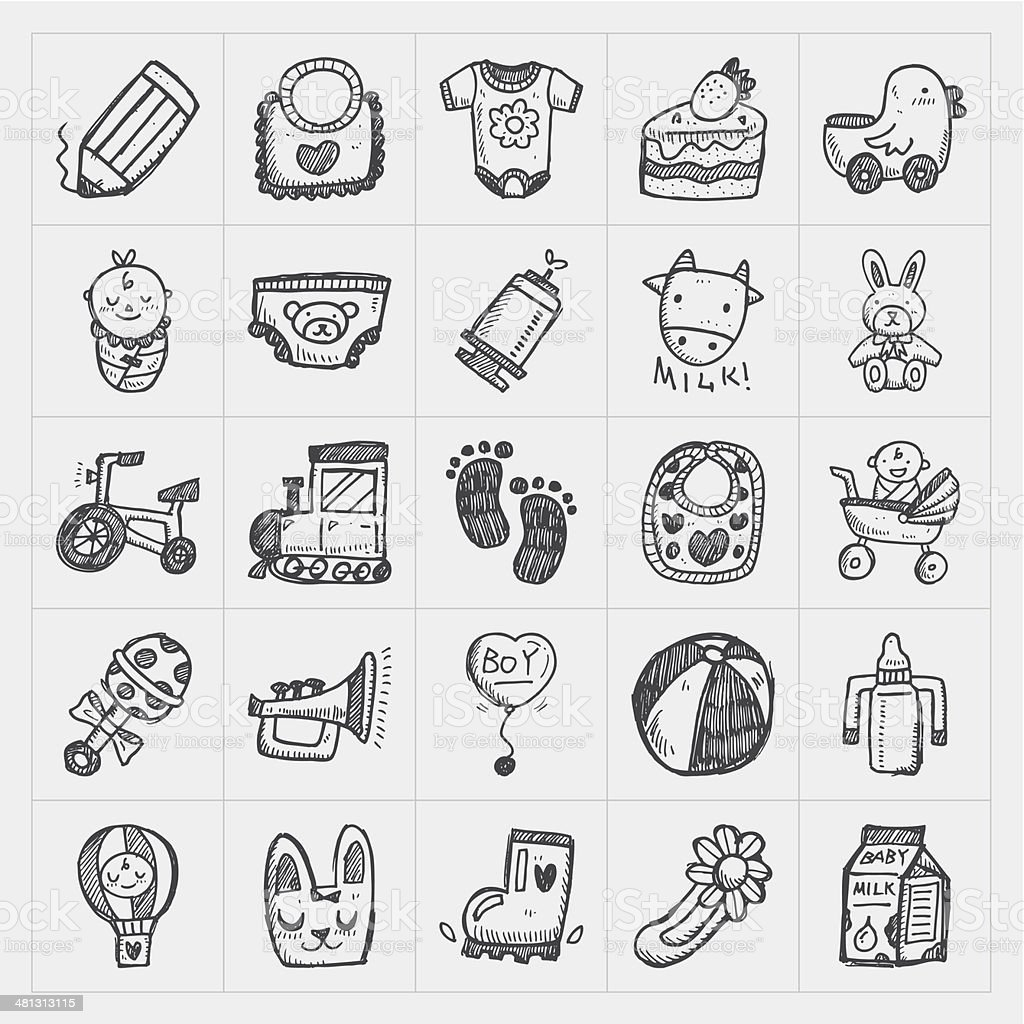 doodle baby icon sets vector art illustration