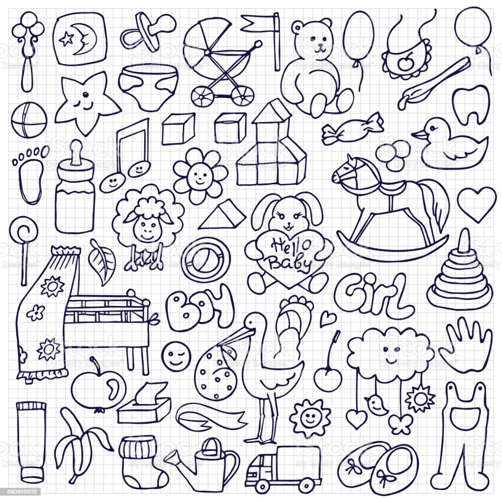 Doodle Baby Objects vector art illustration