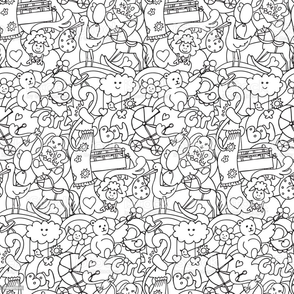 Doodle Baby Shower Seamless Pattern vector art illustration