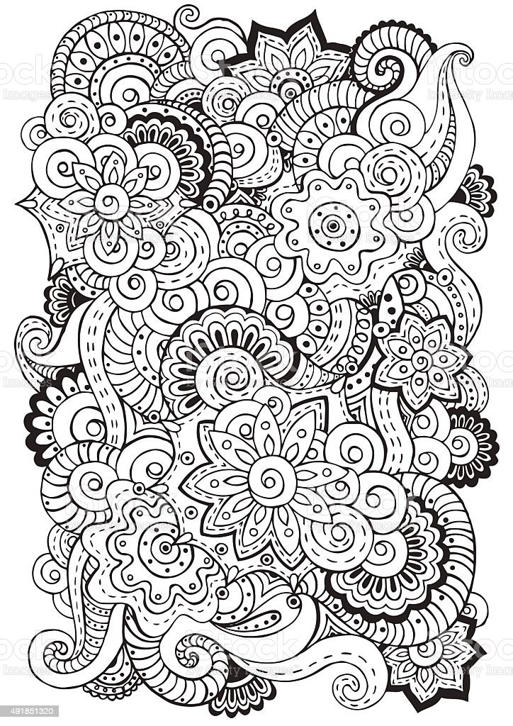 Doodle background in vector with  flowers, paisley.  Black and white. vector art illustration