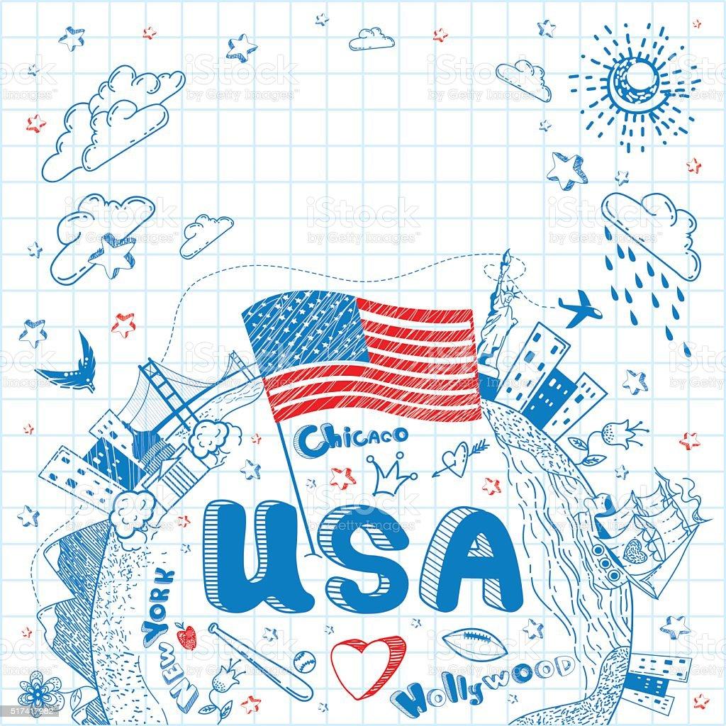 USA doodle background vector art illustration