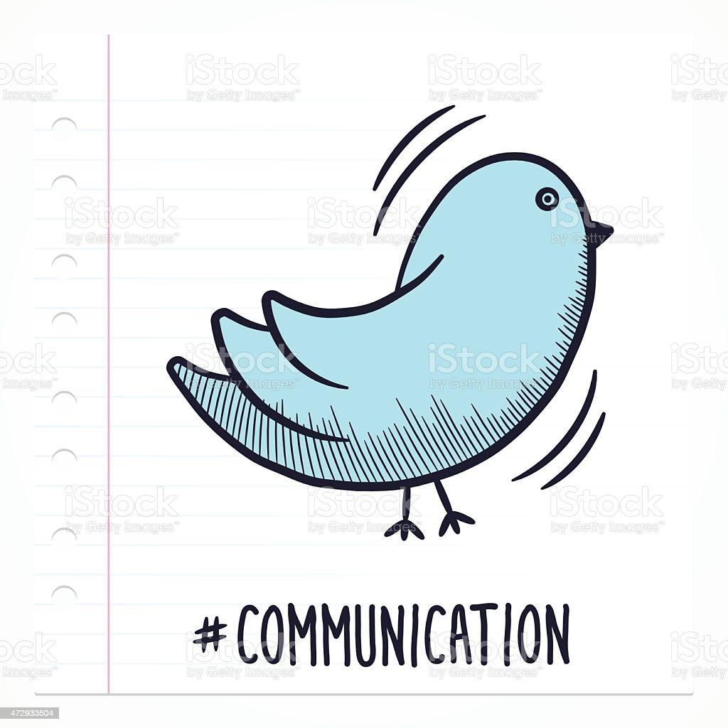 Doodle Bird Icon vector art illustration