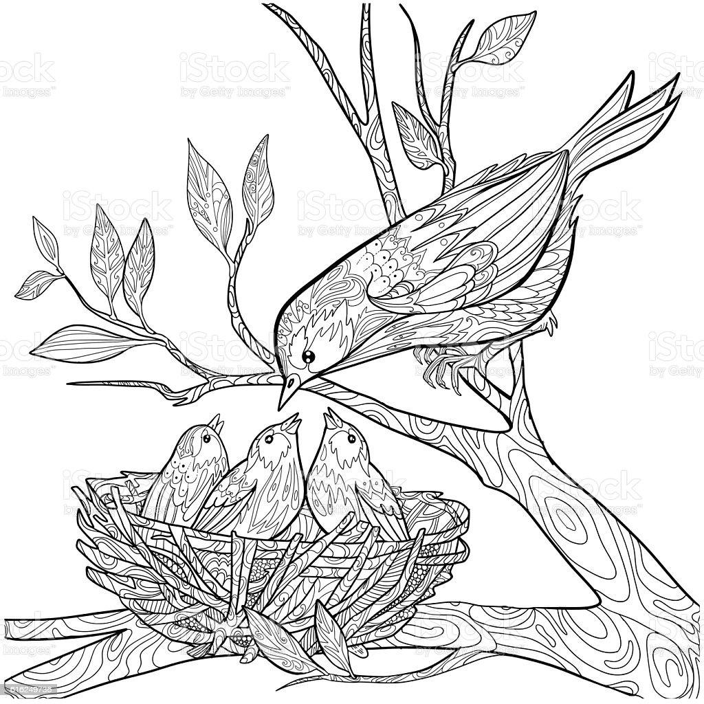 Doodle bird vector art illustration