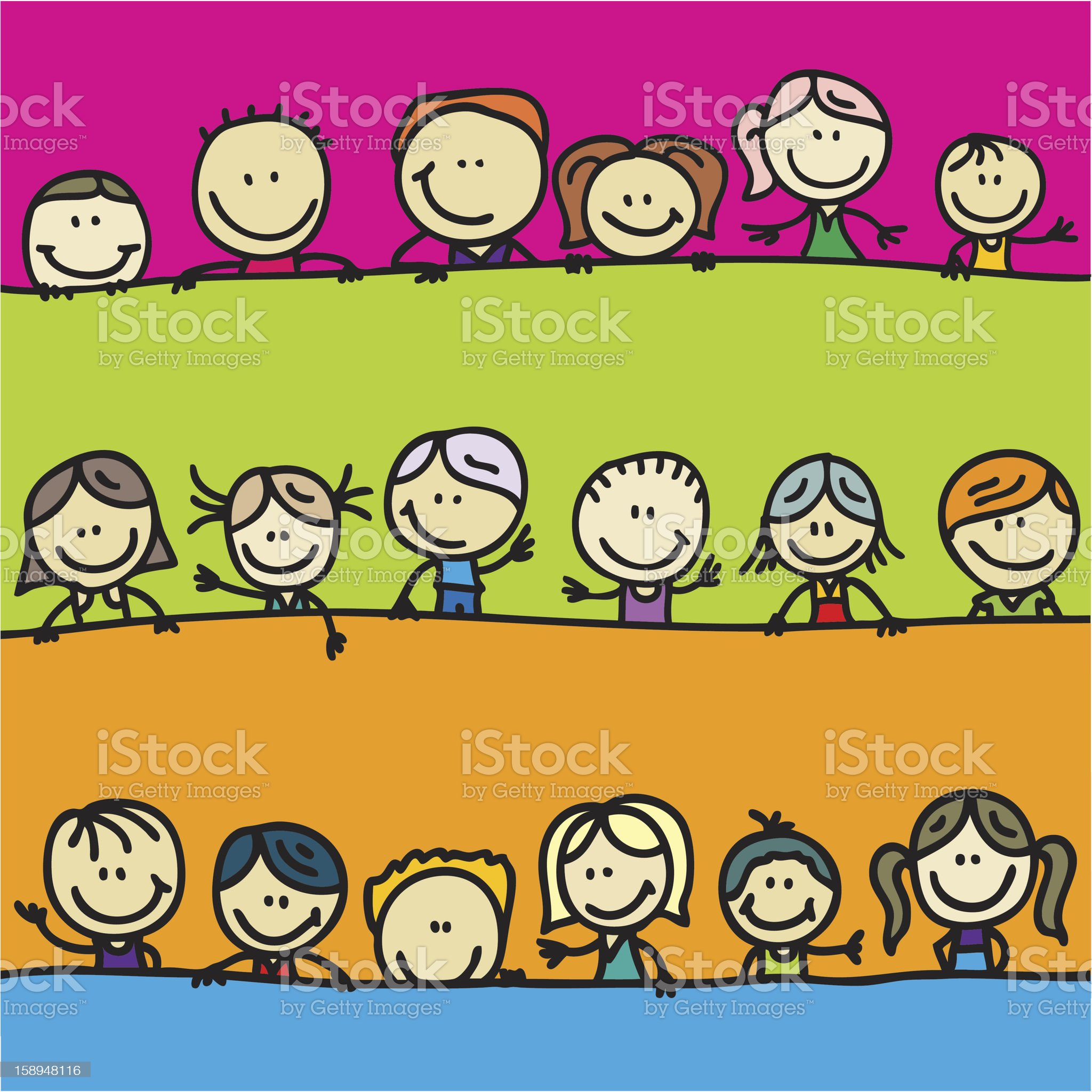 Doodle borders of happy kids royalty-free stock vector art