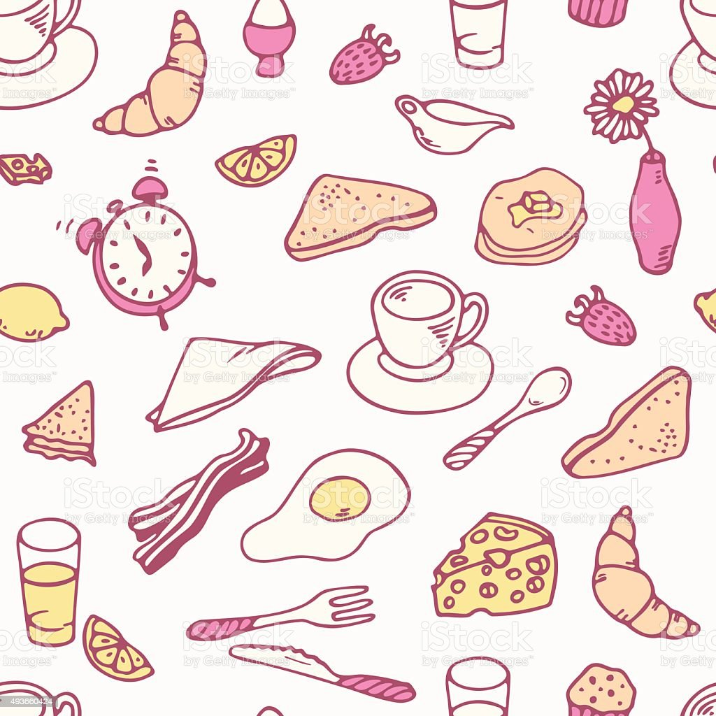 Doodle breakfast seamless pattern vector art illustration
