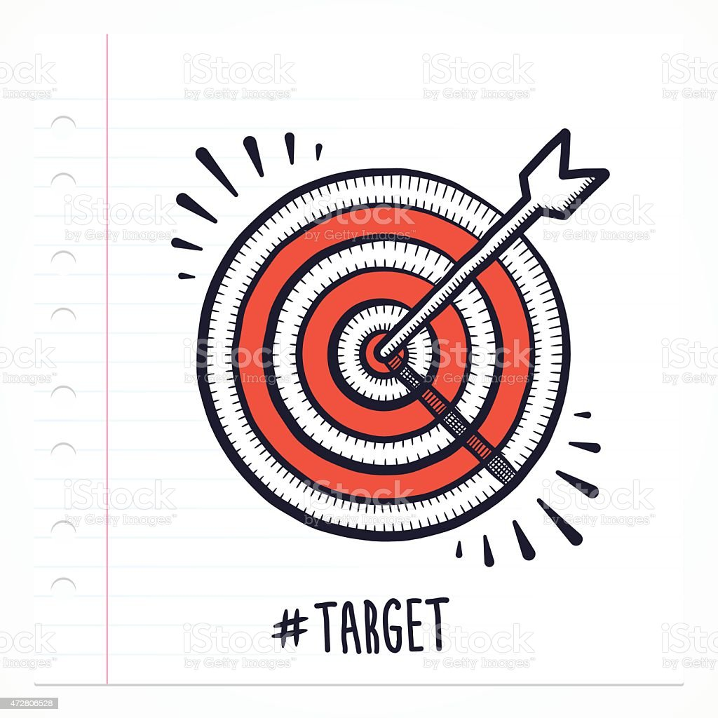 Doodle Bulls Eye Icon vector art illustration