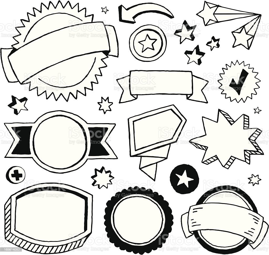 Doodle Call-outs, Banners and Seals royalty-free stock vector art