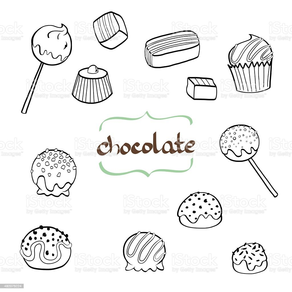 Doodle candys. vector art illustration