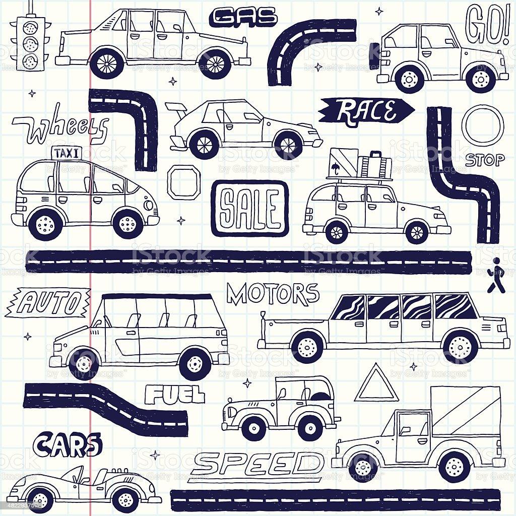 Doodle cars set. School notebook. Vector illustration. vector art illustration