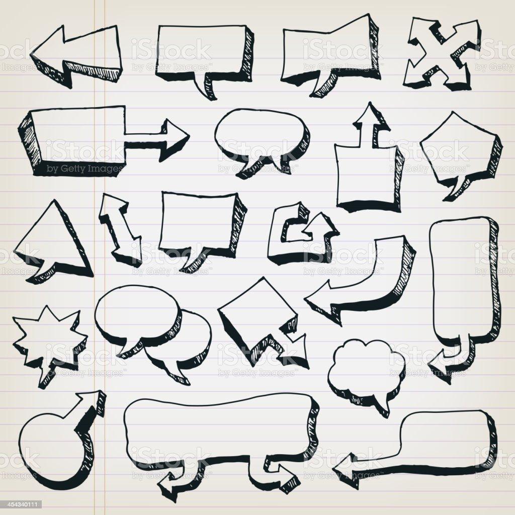 Doodle Cartoon Speech Bubbles Set royalty-free stock vector art