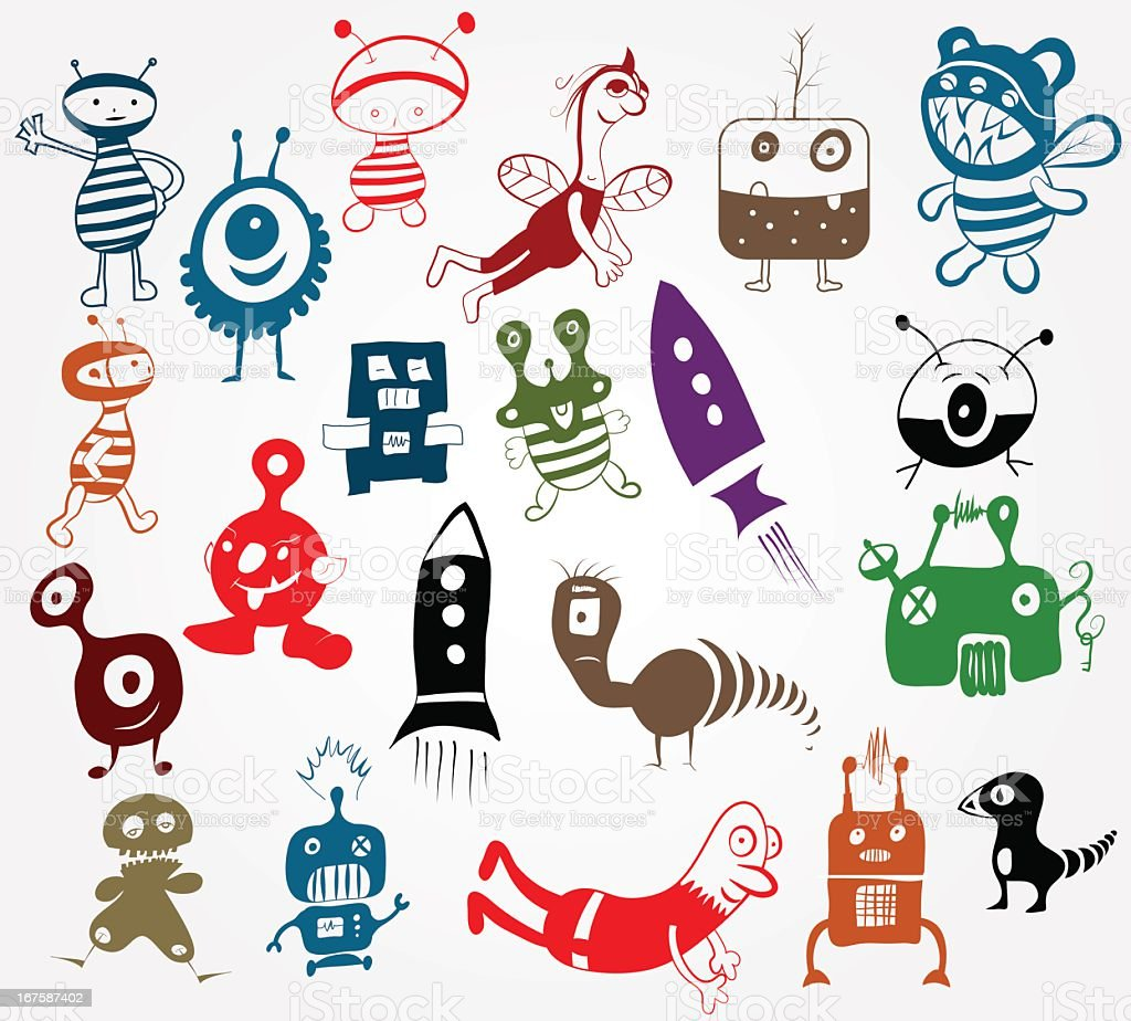 Doodle characters set royalty-free stock vector art