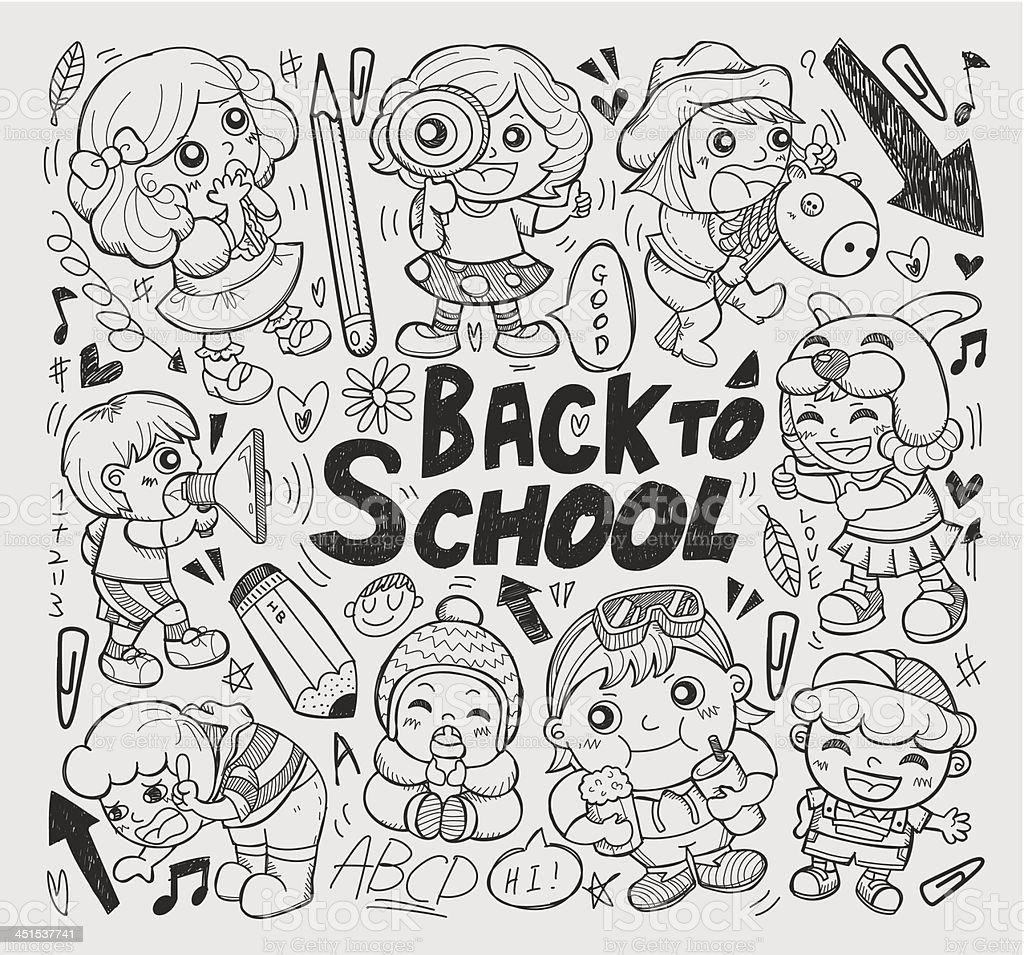 doodle children back to school element royalty-free stock vector art