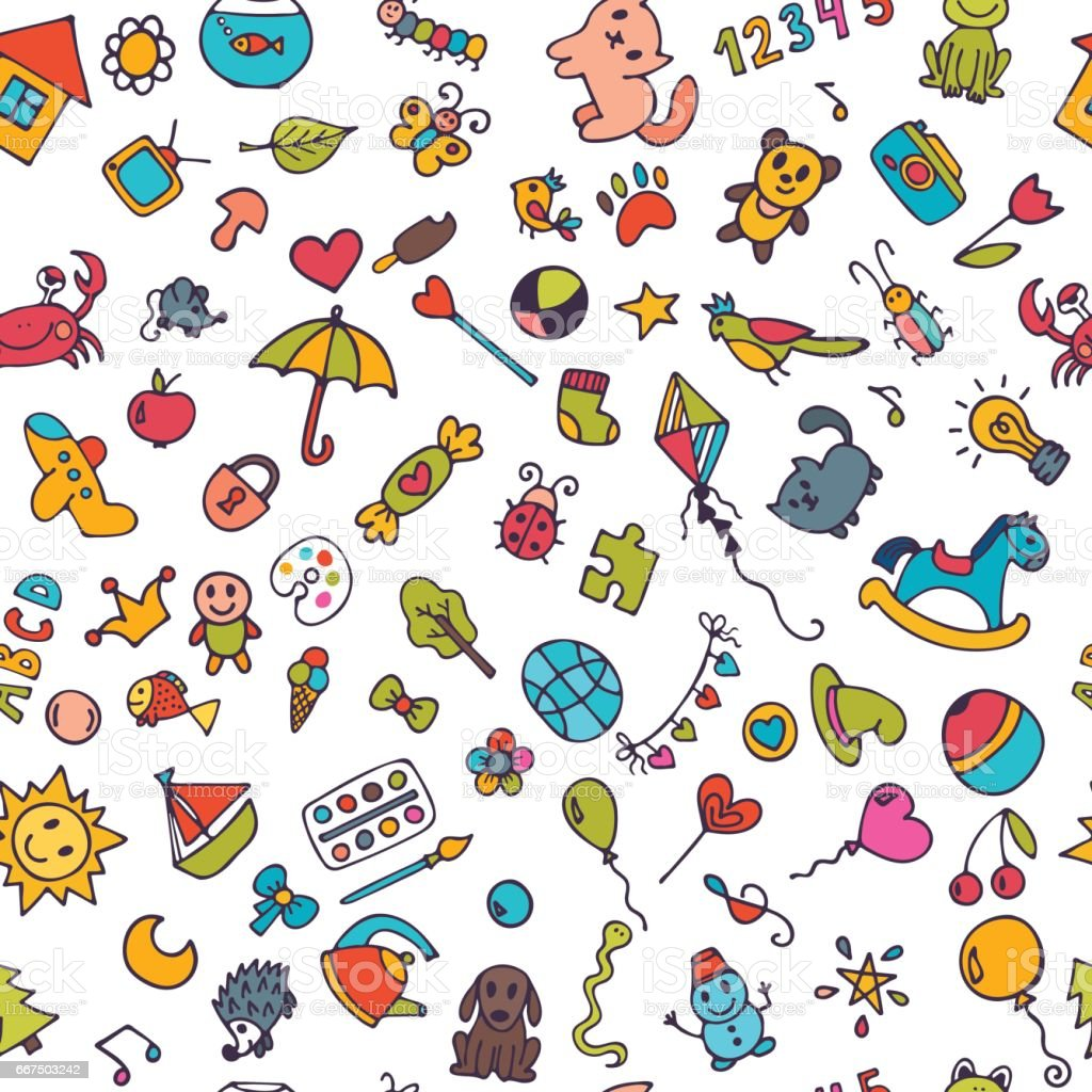 Doodle children background. Seamless pattern for cute little girls and boys. Sketch set of drawings in child style vector art illustration
