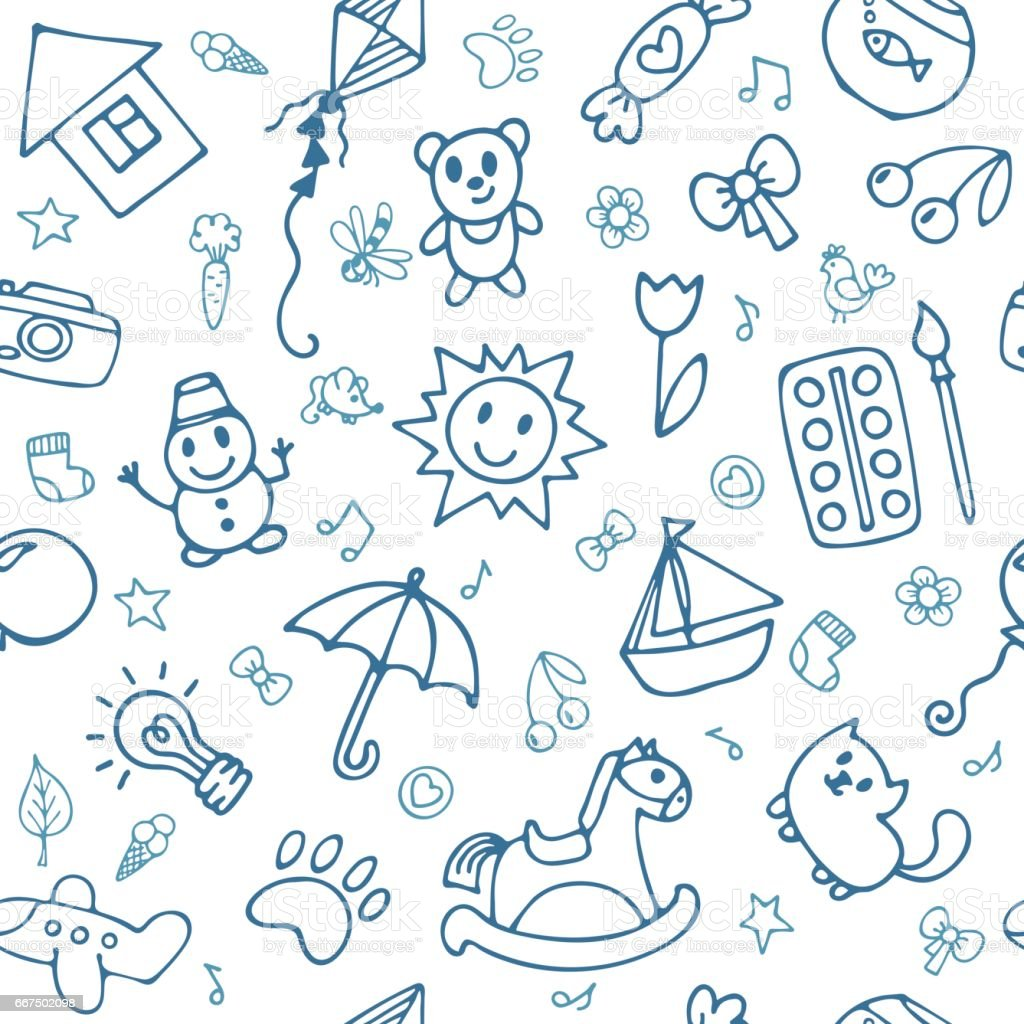 Doodle children drawing background. Seamless pattern for cute little boys and girls. Hand drawn children drawings vector art illustration