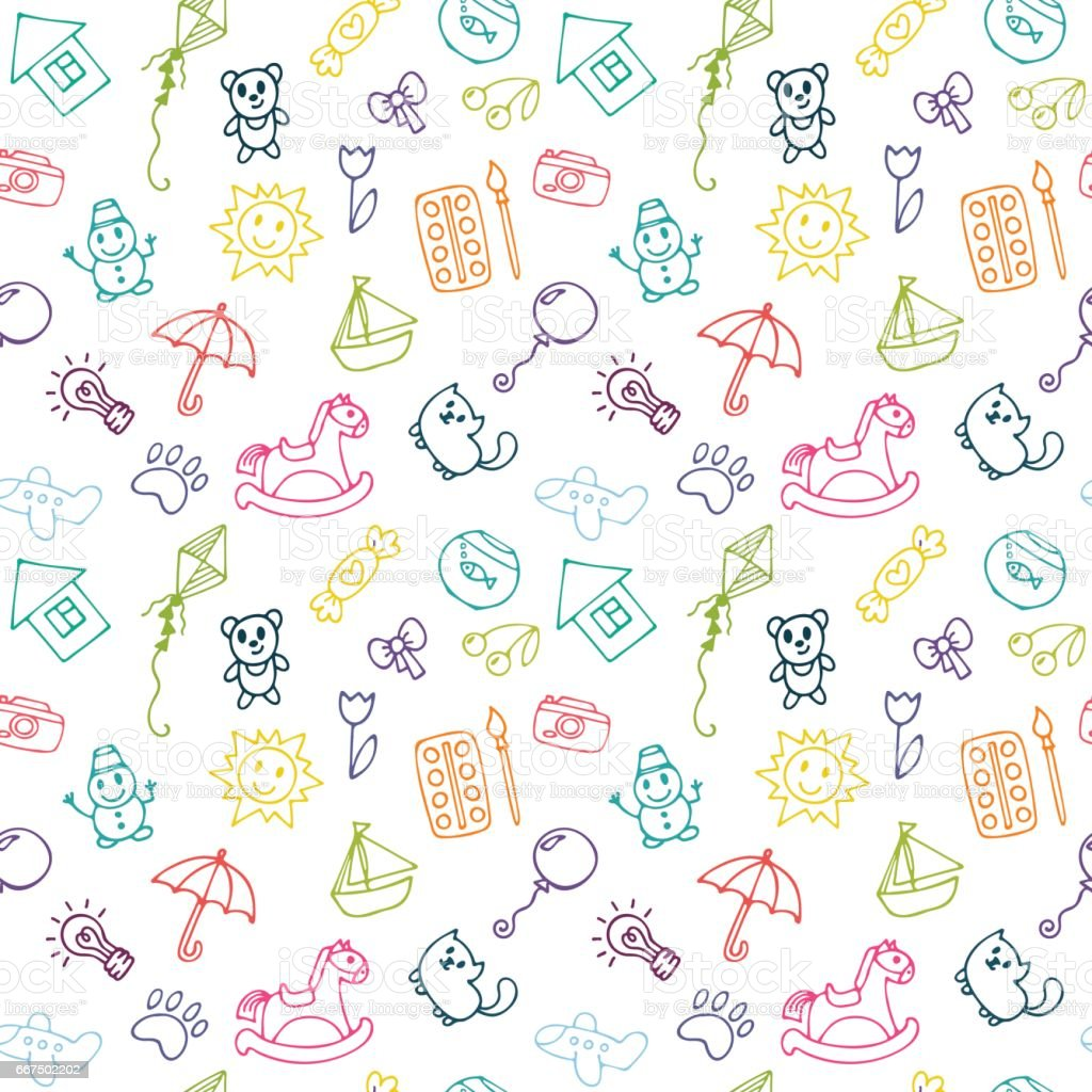 Doodle children drawing background. Sketch set of drawings in child style. Seamless pattern for cute little girls and boys vector art illustration