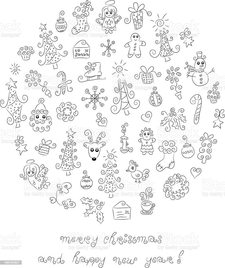 Doodle Christmas elements royalty-free stock vector art