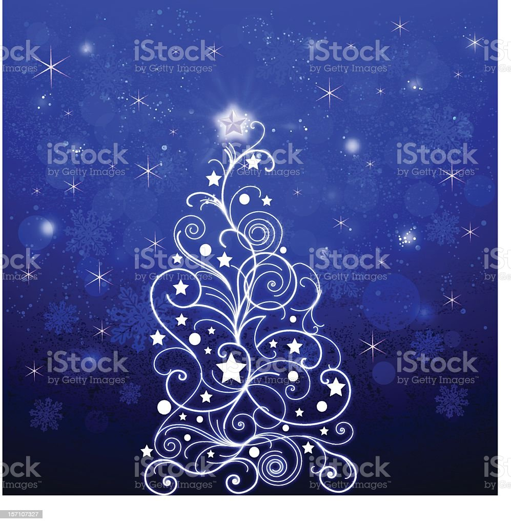 Doodle Christmas Tree in Bright Background stock photo