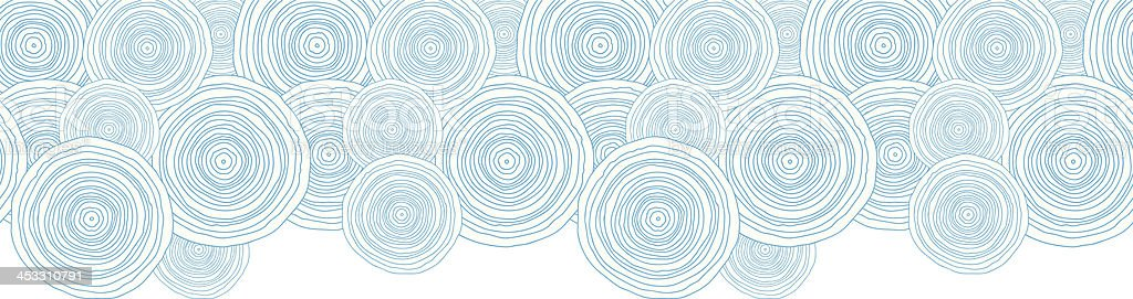 Doodle circle water texture horizontal border seamless pattern background vector art illustration