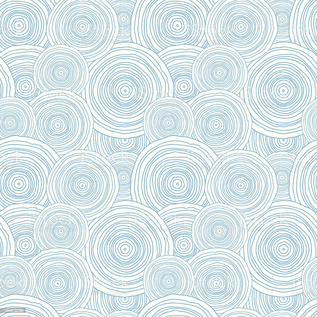 Doodle circle water texture seamless pattern background vector art illustration