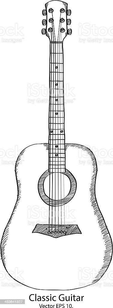 Doodle Classic Guitar Vector Illustration. vector art illustration