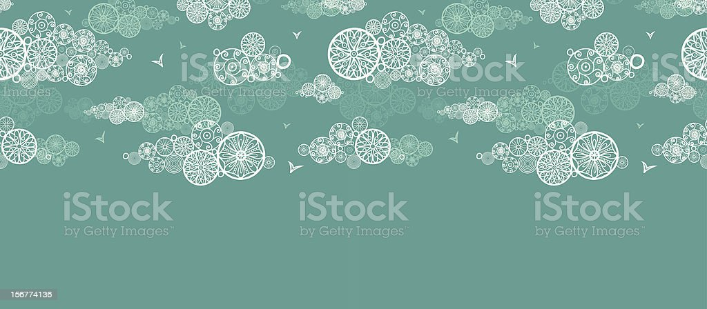 Doodle Clouds Horizontal Seamless Pattern Ornament royalty-free stock vector art