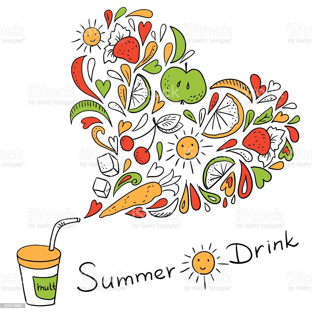 Doodle cocktail - summer drink with vitamins (vector) vector art illustration