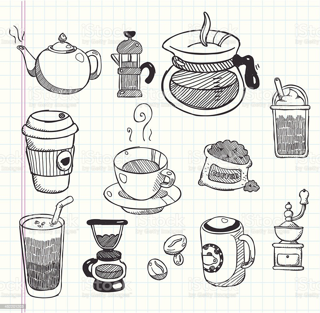 doodle coffee icons royalty-free stock vector art