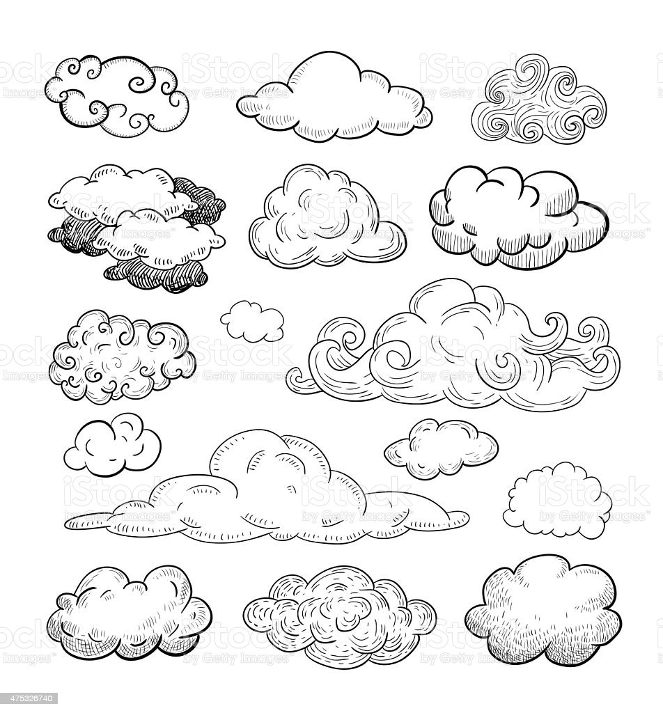 Doodle Collection of Hand Drawn Vector Clouds vector art illustration