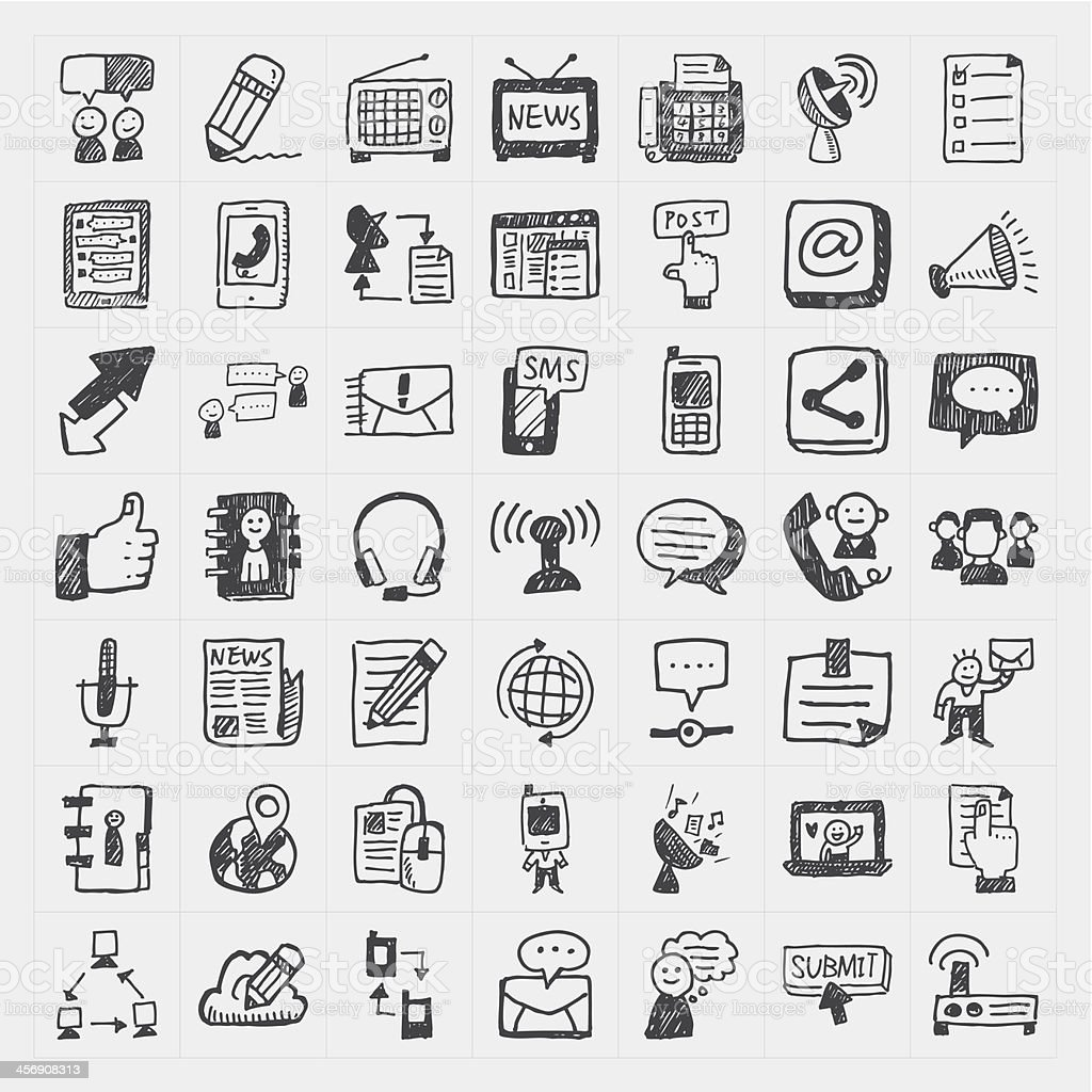 doodle communication icons set vector art illustration