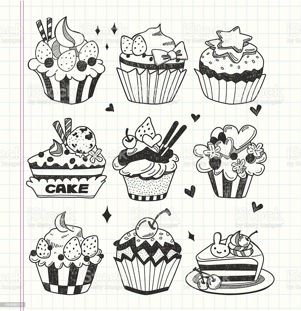 doodle cupcake set royalty-free stock vector art