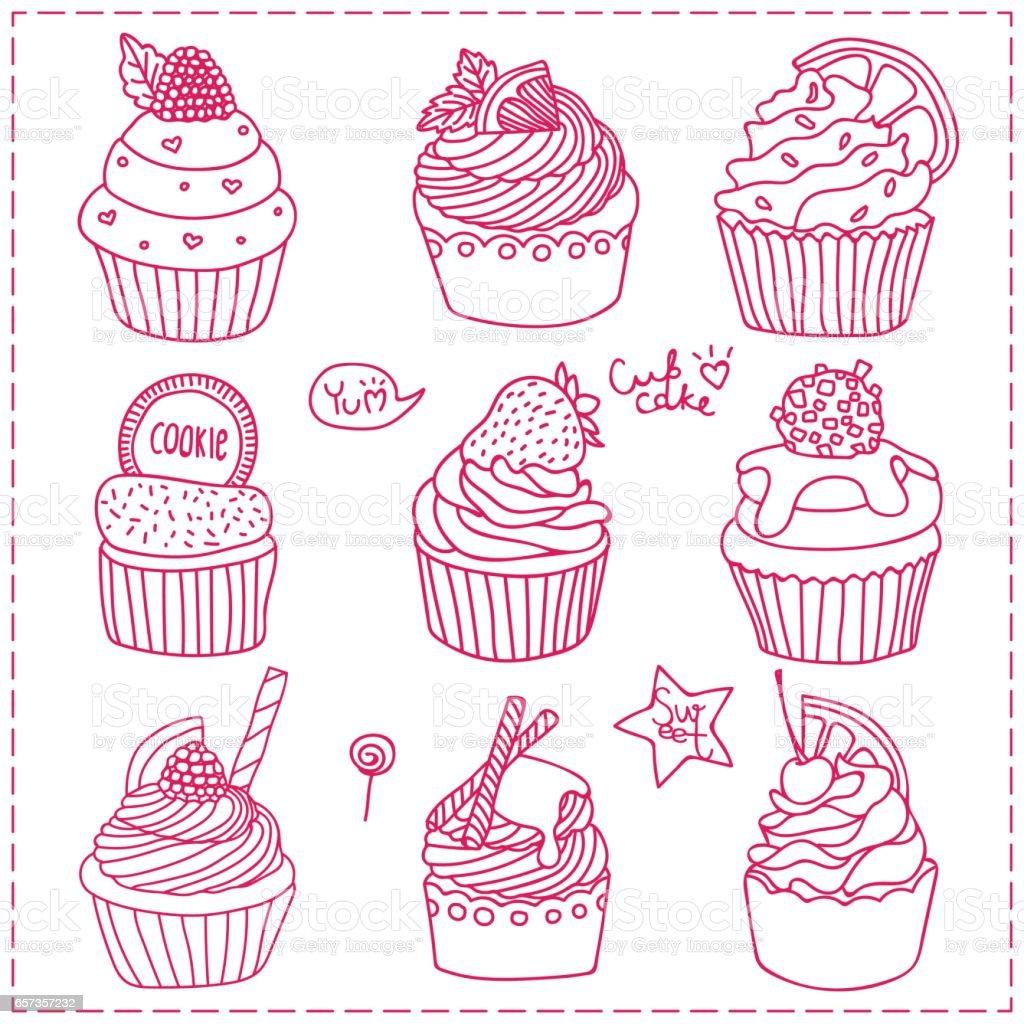 Doodle Cupcake vector art illustration