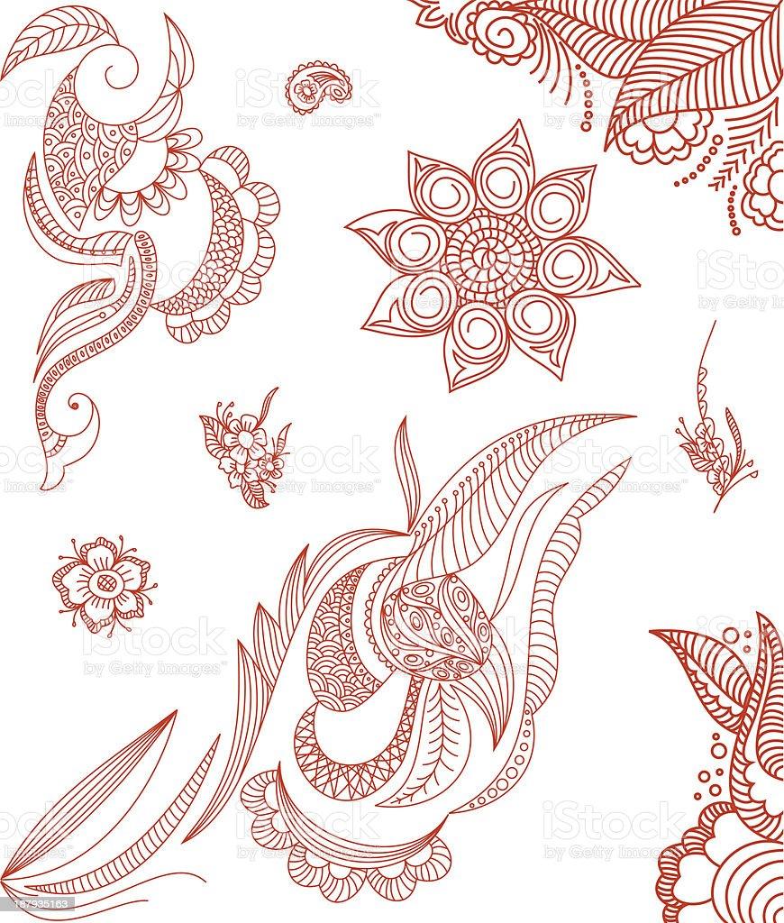 Doodle Design Elements vector art illustration