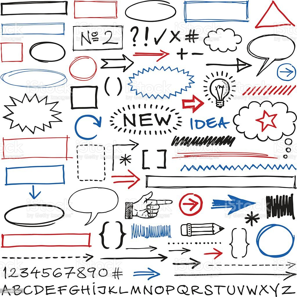 Doodle Design Elements vector art illustration