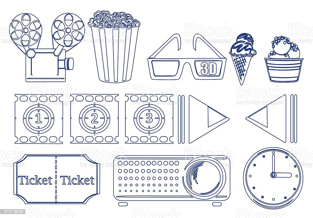 Doodle design of the things for movie marathon vector art illustration