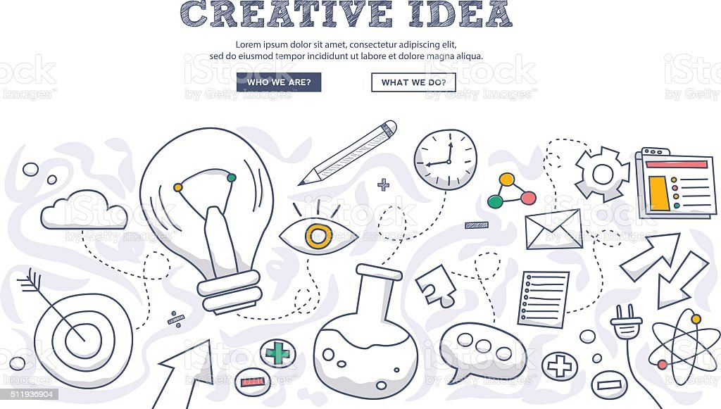 Doodle design style concept of creative idea, finding solution, brainstorming, vector art illustration