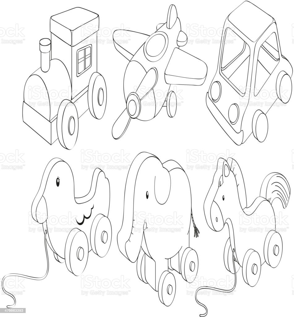 Doodle designs of toys royalty-free stock vector art