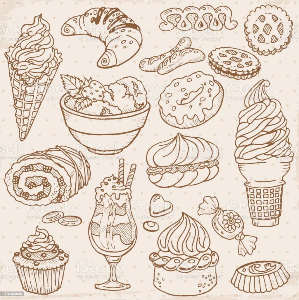 Doodle Dessert Icons vector art illustration
