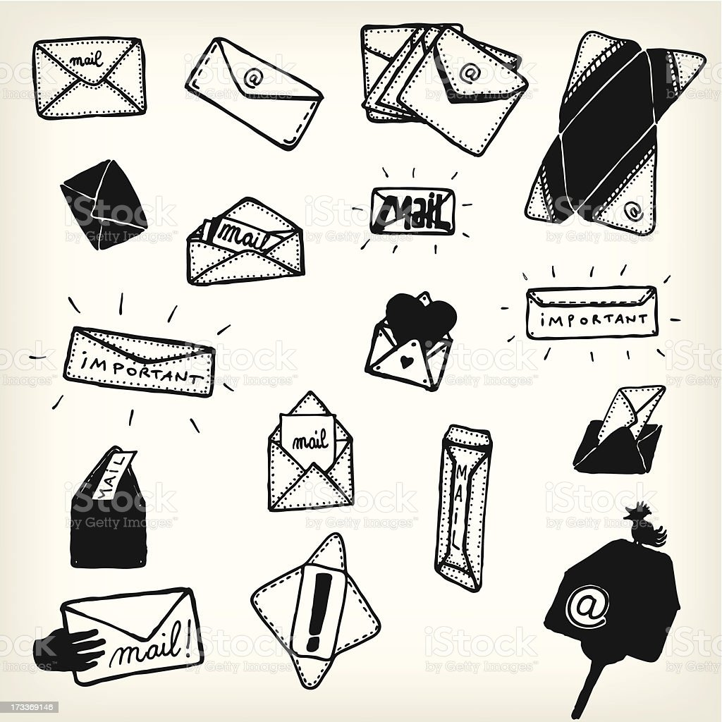 Doodle Email Icons And Envelopes Set royalty-free stock vector art