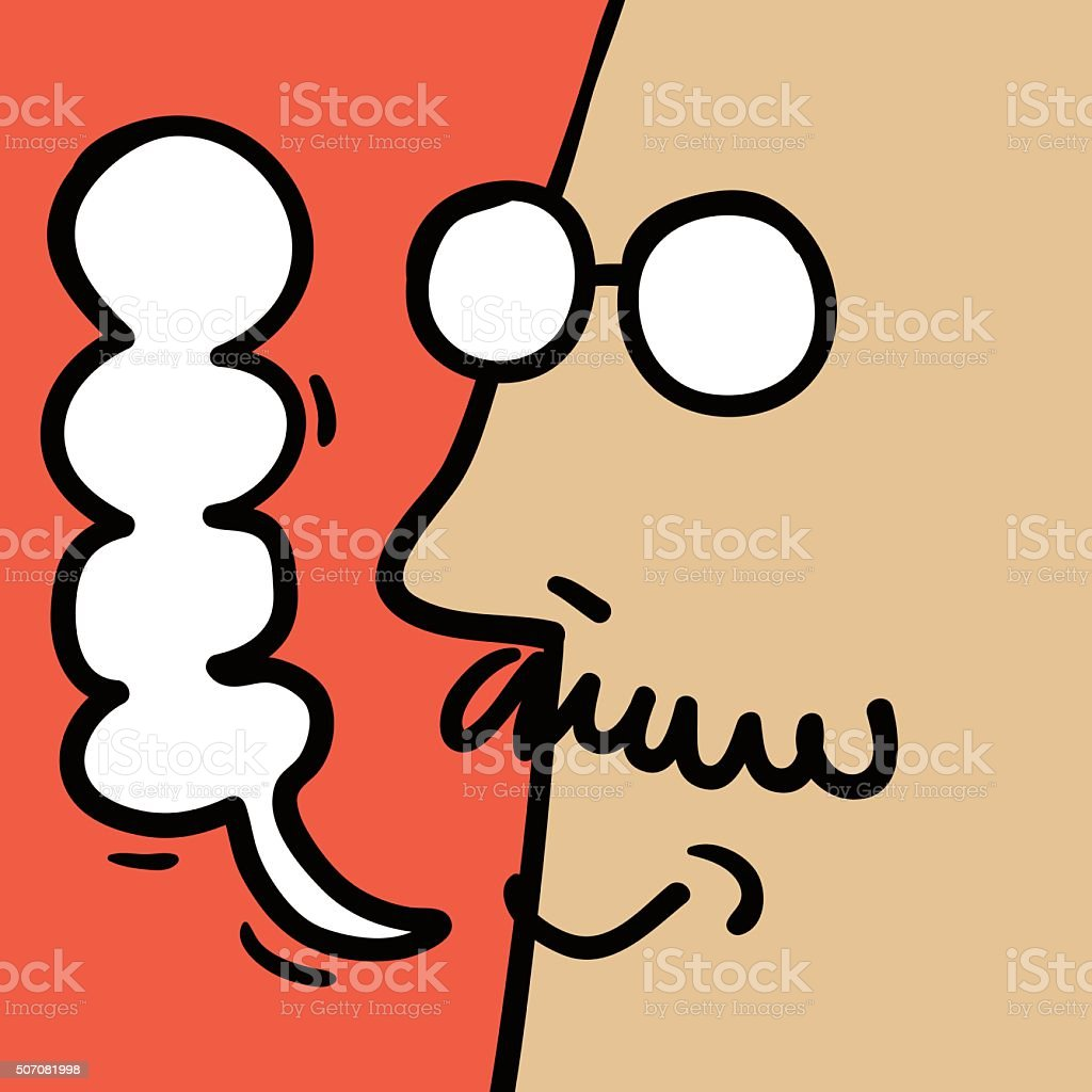 Doodle Emotion, Smiling Face Of Man (Businessman, Teacher, Father) vector art illustration