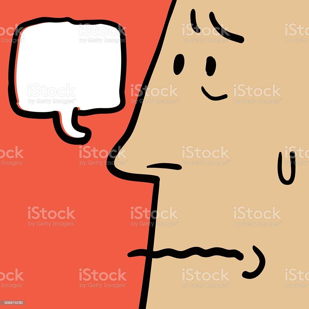 Doodle Emotion, Worried face of man(Businessman, Teacher, Father) vector art illustration