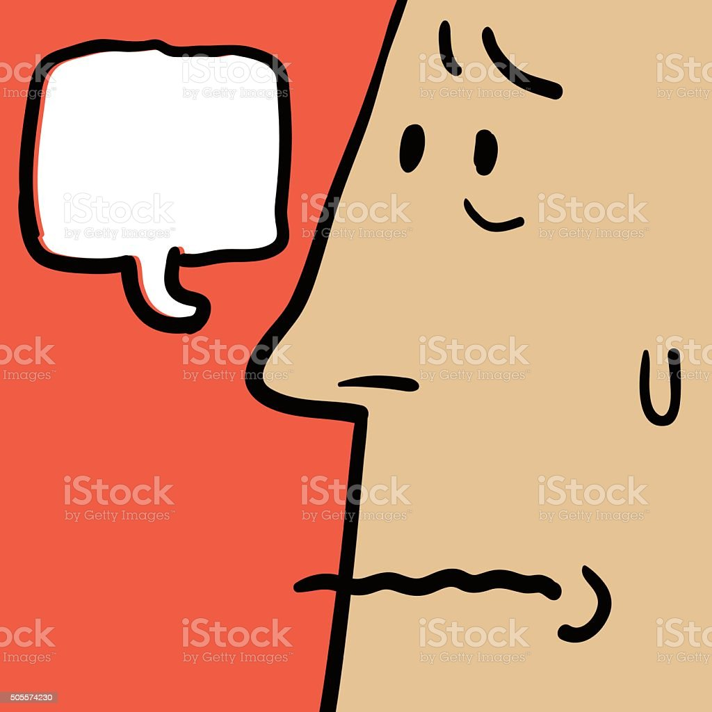 Doodle Emotion, Worried face of man(Businessman, Teacher, Father) vector art illustration