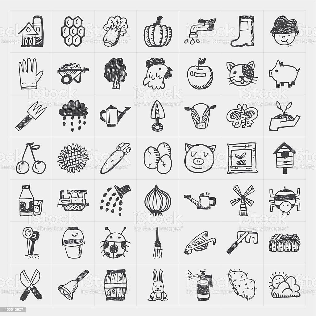 doodle farming icon set vector art illustration