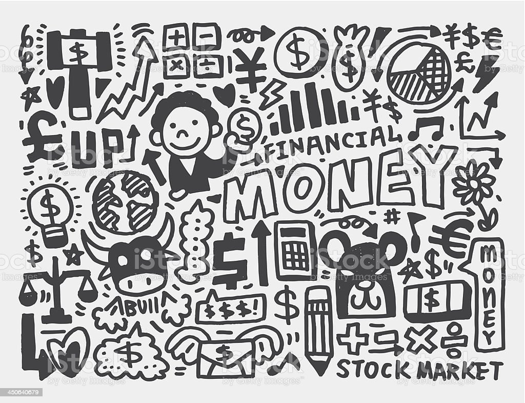 doodle Finance pattern royalty-free stock vector art