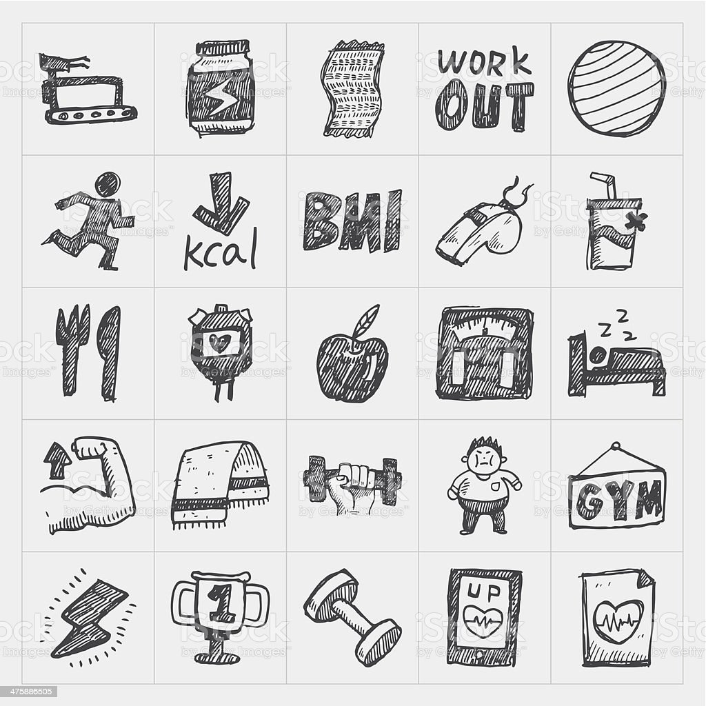 Doodle fitness icons royalty-free stock vector art